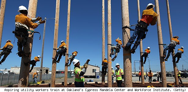 Aspiring utility workers train at Oakland's Cypress Mandela Center and Workforce Institute. (Getty)
