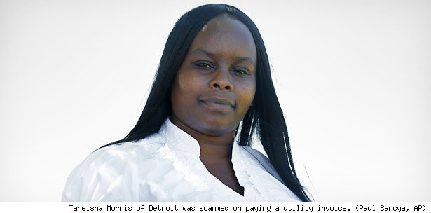 Taneisha Morris of Detroit was scammed on paying a utility invoice. (Paul Sancya, AP)