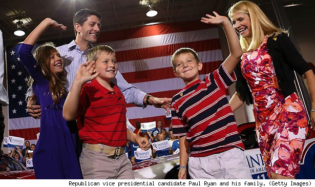 Republican vice presidential candidate Paul Ryan and his family. (Getty Images)
