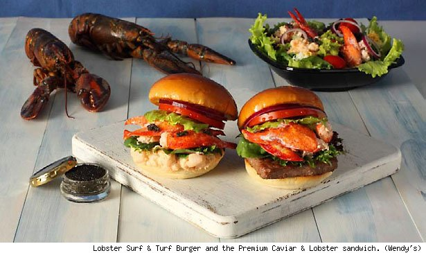 Lobster Surf &amp; Turf Burger and the Premium Caviar &amp; Lobster sandwich. (Wendy's)