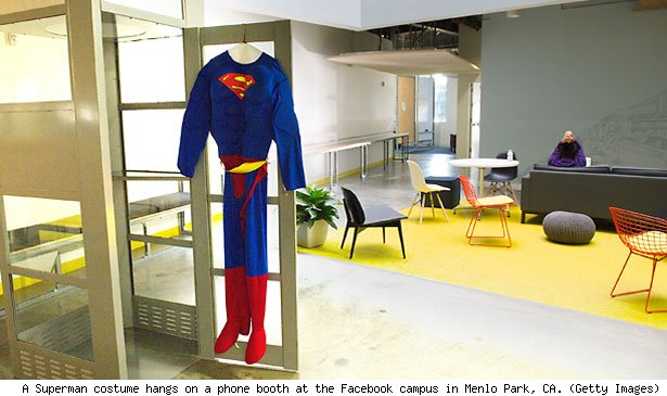 A Superman costume hangs on a phone booth at the Facebook campus in Menlo Park, CA. (Getty Images)