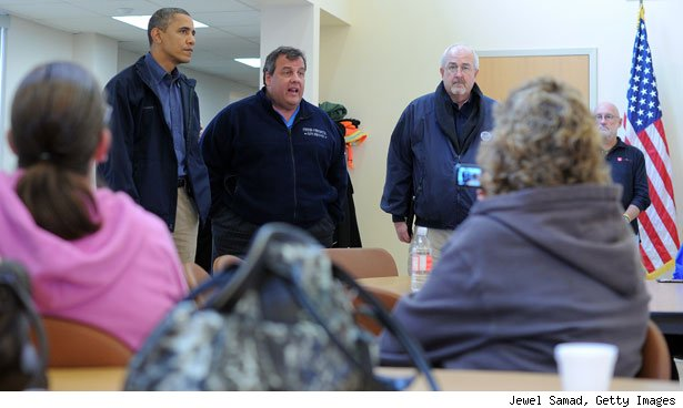 Barack Obama, New Jersey Governor Chris Christie and  FEMA 