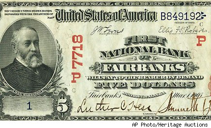 five dollar bill to be auctioned
