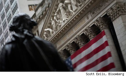 American flag is hung on the exterior of the New York Stock Exchange