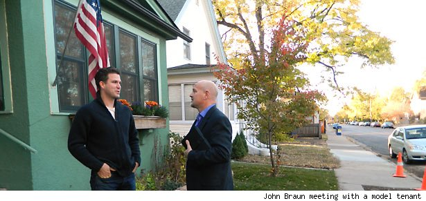 John Braun meeting with a model tenant