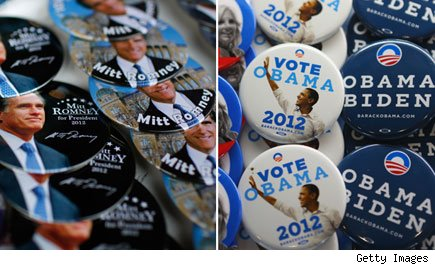 Obama and Romney election campaign buttons