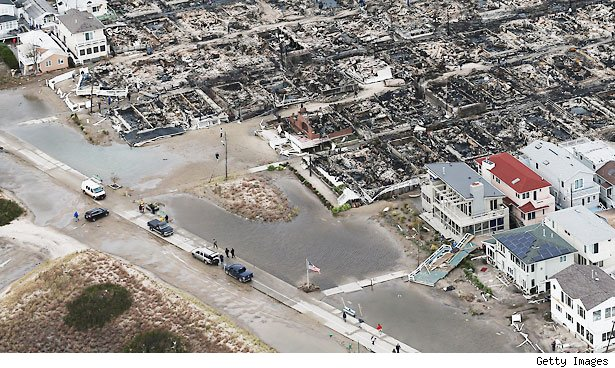 Destroyed homes from hurricane Sandy