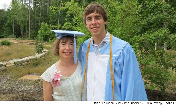 Justin Loiseau with his mother.  (Courtesy Photo)