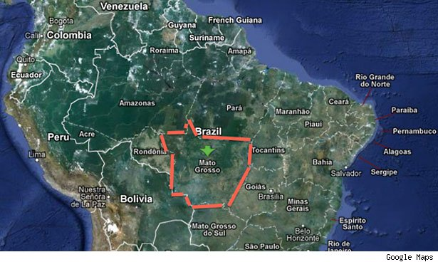 Here's where Mato Grosso is located.