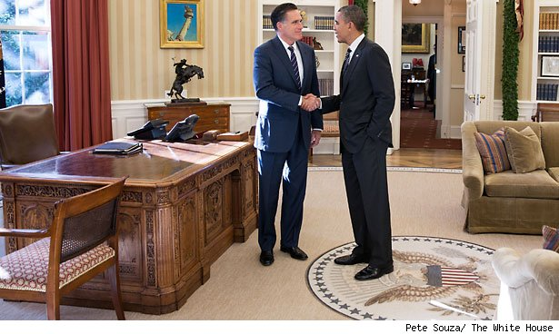 Mitt Romney and President Obama in the Oval Office