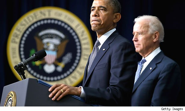 U.S. President Barack Obama and Vice President Joe Biden announce the administraton's new gun law 