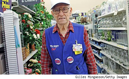 Lyle, a world war two veteran, works at a Bentonville Wal-Mart.  (photo by Gilles Mingasson/Getty Images)