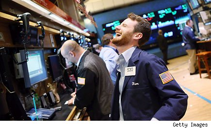 Traders laugh