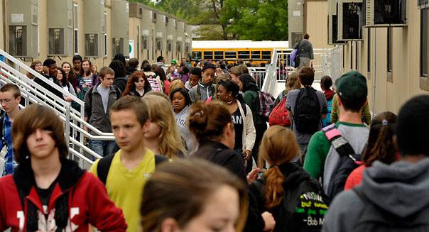 MINERAL, VA - APRIL 26: As the school day ends Louisa High School students leave their trailers on April 26, 2012. Last years earthquake heavily damaged and closed Louisa High School. Now the entire school operates out of trailers.  (Photo by Tracy A. Woodward/The Washington Post via Getty Images)