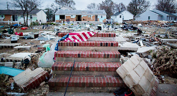The front steps of a home that no longer exists are covered with debris five days after Hurricane Sandy hit the area causing widespread destruction, flooding and power outages in Union Beach, NJ, on Friday November 3, 2012. Large areas of the town were completely destroyed, and the majority of the homes flooded, from the storm surge. Photograph: Victor J. Blue