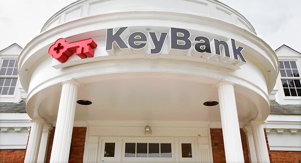 The KeyBank branch is seen in Orange Village, Ohio on Thursday, July 22, 2010. KeyCorp reported its first quarterly profit in two years Thursday, Thursday, Luy 22,2010, with fewer soured loans, more income from fees and better cost controls. (AP Photo/Amy Sancetta)