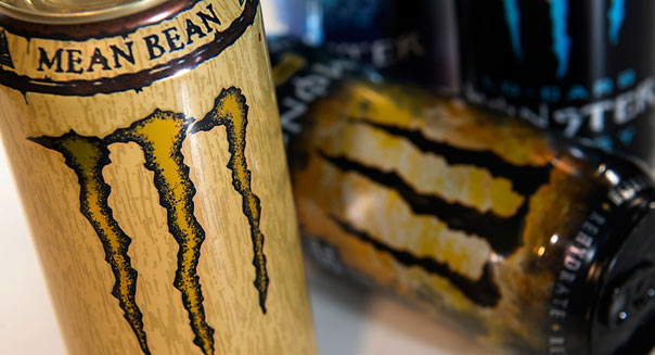 Cans of Monster Beverage Corp. drinks are displayed for a photograph in San Francisco, California, U.S., on Tuesday, Feb. 19, 2013. Monster Beverage Corp. is expected to release earnings data on Feb 27. Photographer: David Paul Morris/Bloomberg