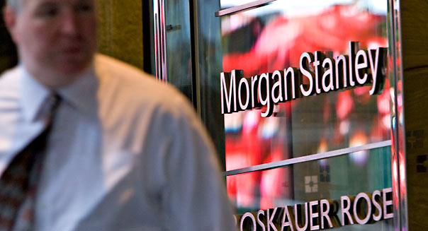 outside Morgan Stanley headquarters in New York, U.S., on Wednesday, June 18, 2008. Morgan Stanley, the second-biggest U.S. securities firm, said profit dropped 57 percent, in line with analysts' estimates, as the firm suffered declines in trading and investment banking. Photographer: Daniel Acker/Bloomberg News