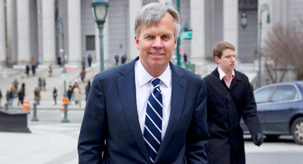 Ron Johnson, chief executive officer of J.C. Penney Co., exits State Supreme court in New York, U.S., on Friday, March 1, 2013. Johnson took the witness stand to testify in a dispute between his department-store chain and Macy?s Inc. over the right to sell Martha Stewart Living Omnimedia Inc. merchandise. Photographer: Jin Lee/Bloomberg via Getty Images