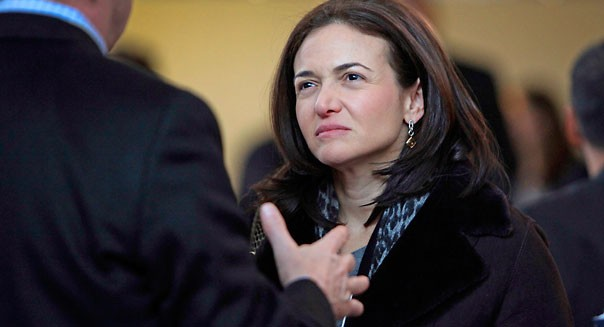 Sheryl Sandberg, chief operating officer of Facebook Inc., speaks to attendees in the Congress Center during day one of the World Economic Forum (WEF) in Davos, Switzerland, on Wednesday, Jan. 25, 2012. The 42nd annual meeting of the World Economic Forum will be attended by about 2,600 political, business and financial leaders at the five-day conference. Photographer: Chris Ratcliffe/Bloomberg via Getty Images