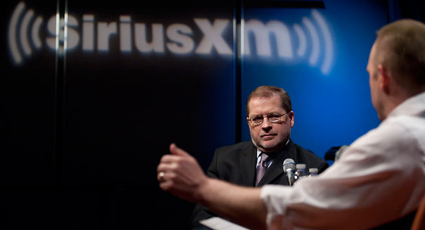 WASHINGTON, DC - MARCH 05: Grover Norquist, President, Americans for Tax Reform, is interviewed by SiriusXM Patriot host Andrew Wilkow at SiriusXM Studio on March 5, 2013 in Washington, DC. (Photo by Leigh Vogel/Getty Images)
