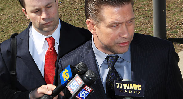 NEW CITY, NY - MARCH 29: Attorney Russell Yankwitt (L) and client Stephen Baldwin (R) address the media after Baldwin pleaded guilty to a charge of repeated failure to file income taxes at Rockland County Courthouse on March 29, 2013 in New City, New York. Baldwin, a contestant on