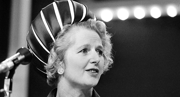Conservative MP, the Rt Hon Mrs Margaret Thatcher speaking at the Party Conference in Blackpool, October 1970. (Photo by Bob Thomas/Getty Images)