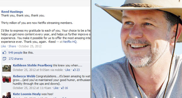 Reed Hasting's Facebook page