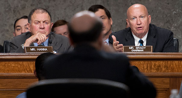 UNITED STATES - May 22 : Rep. Richard Hanna, R-NY., and Rep. Kevin Brady, R-TX., listen to Ben Bernanke, Chairman, Board of Governors of the Federal Reserve System as he testifies before the Joint Economic Committee in the Dirksen Senate Office Building in Washington, D.C. on the economic outlook.  (Photo By Douglas Graham/CQ Roll Call)