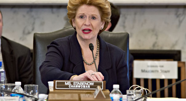 Senate Agriculture Committee Chair Sen. Debbie Stabenow, D-Mich. speaks on Capitol Hill on Tuesday during the committee's hearing on the farm bill.