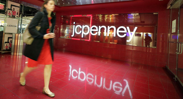 Customer leaves J.C. Penney store in New York.