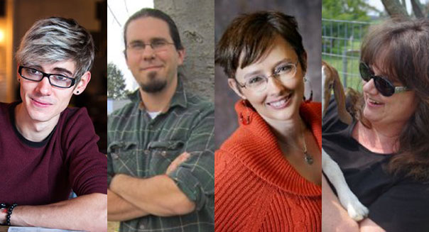 Featured authors of Amazon's new fan fiction books [from left to right] A.R. Kahler, writing in The Vampire Diaries, Joseph Brassey, writing in The Vampire Diaries, Trish Milburn, writing in The Vampire Diaries, and Nancy Naigle, writing in Pretty Little Liars.