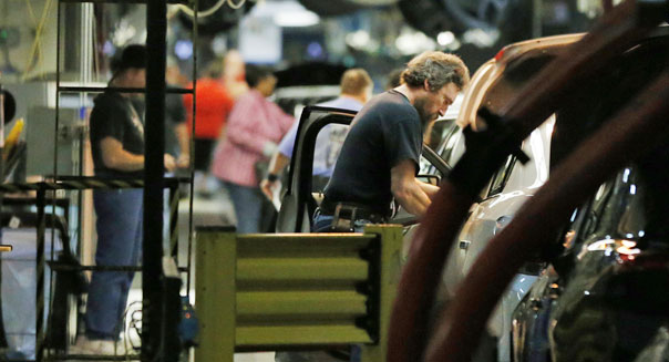 factory worker march business inventories sales