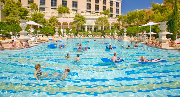 People swimming at a hotel
