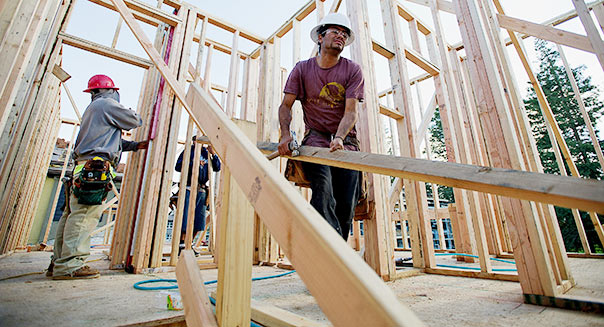 Contractors work on a KB Home Vicino community in San Jose, California. David Paul Morris/Bloomberg