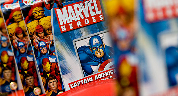 Marvel comics sit on display at Midtown Comics in New York, U.S., on Monday, Aug. 31, 2009. Walt Disney Co. said it agred to buy Marvel Entertainment Inc. for about $4 billion in a sytock and cash transaction, gaining comic-book characters including Iron Man, Spider-Man and Captain America. Photographer: Daniel Acker/Bloomberg