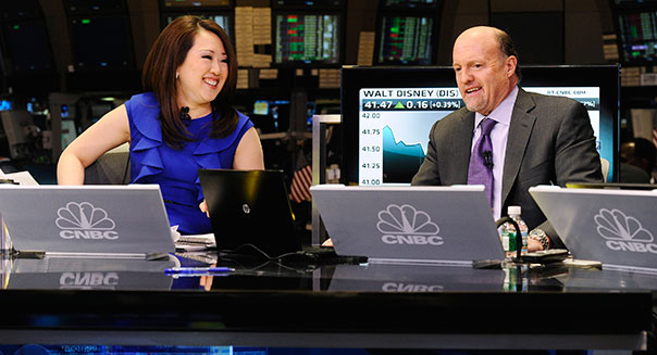 Floor of the NYSE -- Pictured: (l-r) CNBC's Melissa Lee, Jim Cramer -- (Photo by: Charles Sykes/CNBC/NBCU Photo Bank)