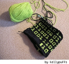 Kellypuffs' rendition of the Binary scarf from Knitty Winter 06