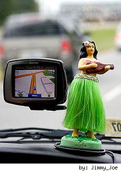 GPS with hula girl