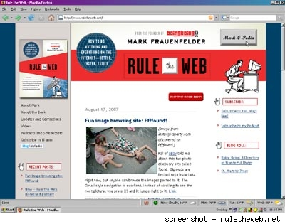 Screenshot from website for Mark Frauenfelder's book,