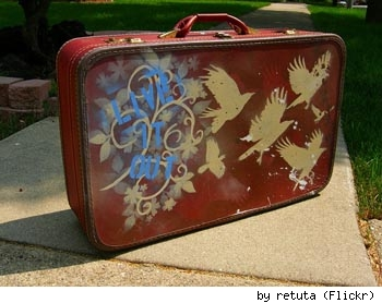 Painted suitcase by Flickr's retuta