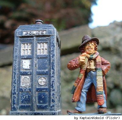 Doctor Who metal figurines, by Flickr user Kaptain Kobold.