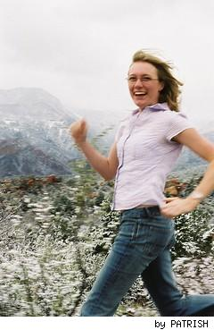 woman running with energy