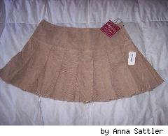 pleated tan cord aero skirt