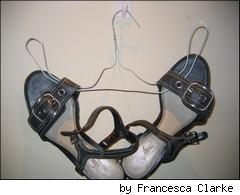 shoes on a wire hanger