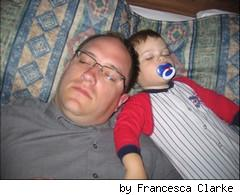 sleeping dad and boy