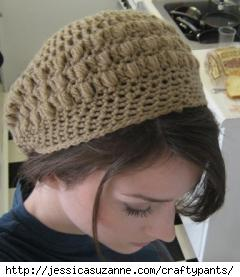 Pretty Puffs Slouchy Hat - crochet design by CraftyPants.