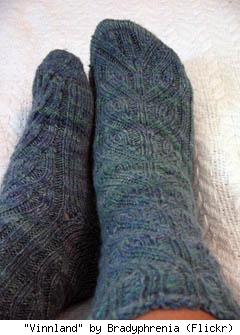 Vinnland socks from TheAntiCraft, by Flickr user Bradyphrenia.
