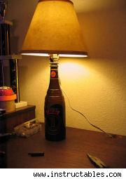 bottle turned into a lamp