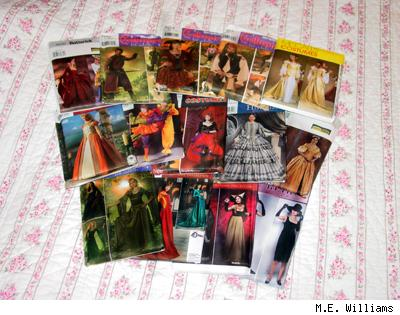 A pile of costume patterns, by M.E. Williams